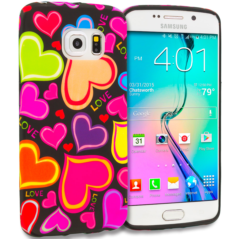 Samsung Galaxy S6 Edge Rainbow Hearts Black TPU Design Soft Rubber Case Cover