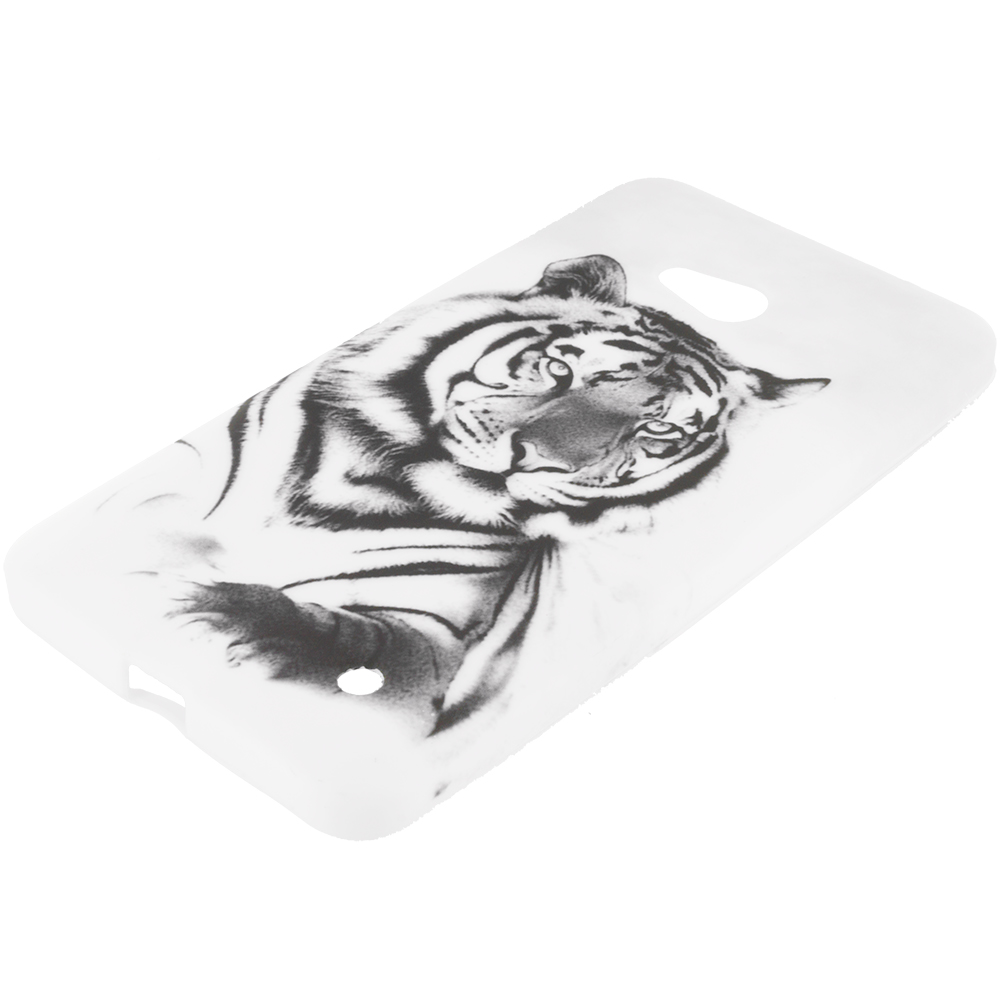 Microsoft Lumia 640 White Tiger TPU Design Soft Rubber Case Cover