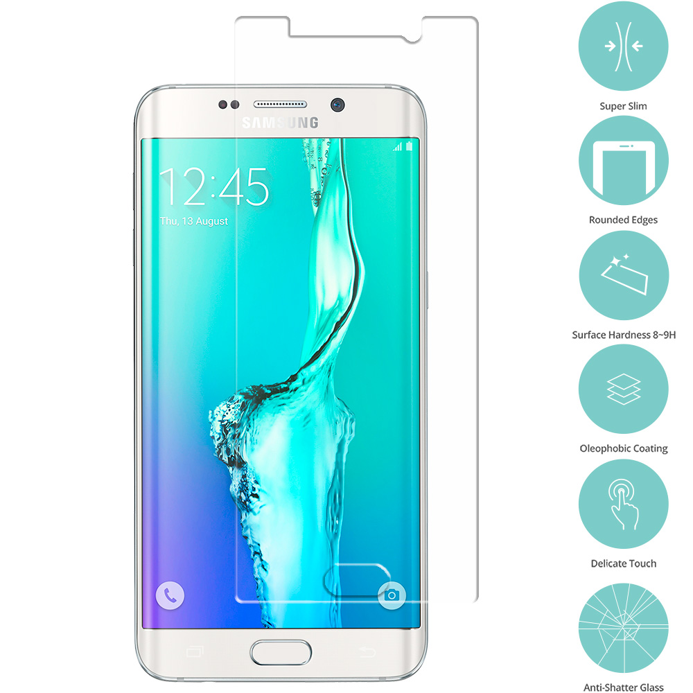 Samsung Galaxy S6 Edge Plus + Clear Tempered Glass Film Screen Protector Clear