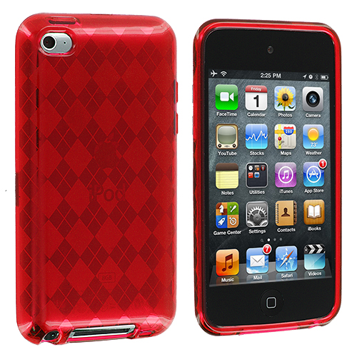 Apple iPod Touch 4th Generation Red Checkered TPU Rubber Skin Case Cover