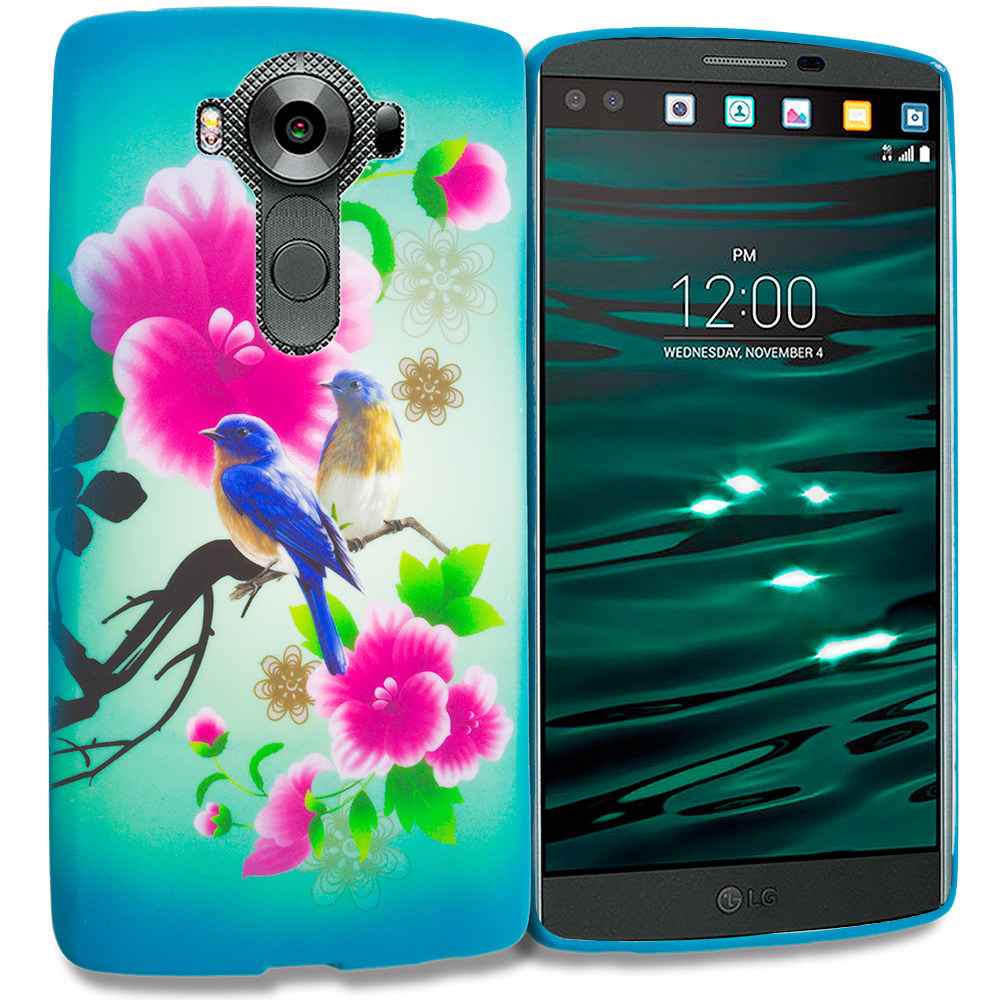 LG V10 Blue Bird Pink Flower TPU Design Soft Rubber Case Cover