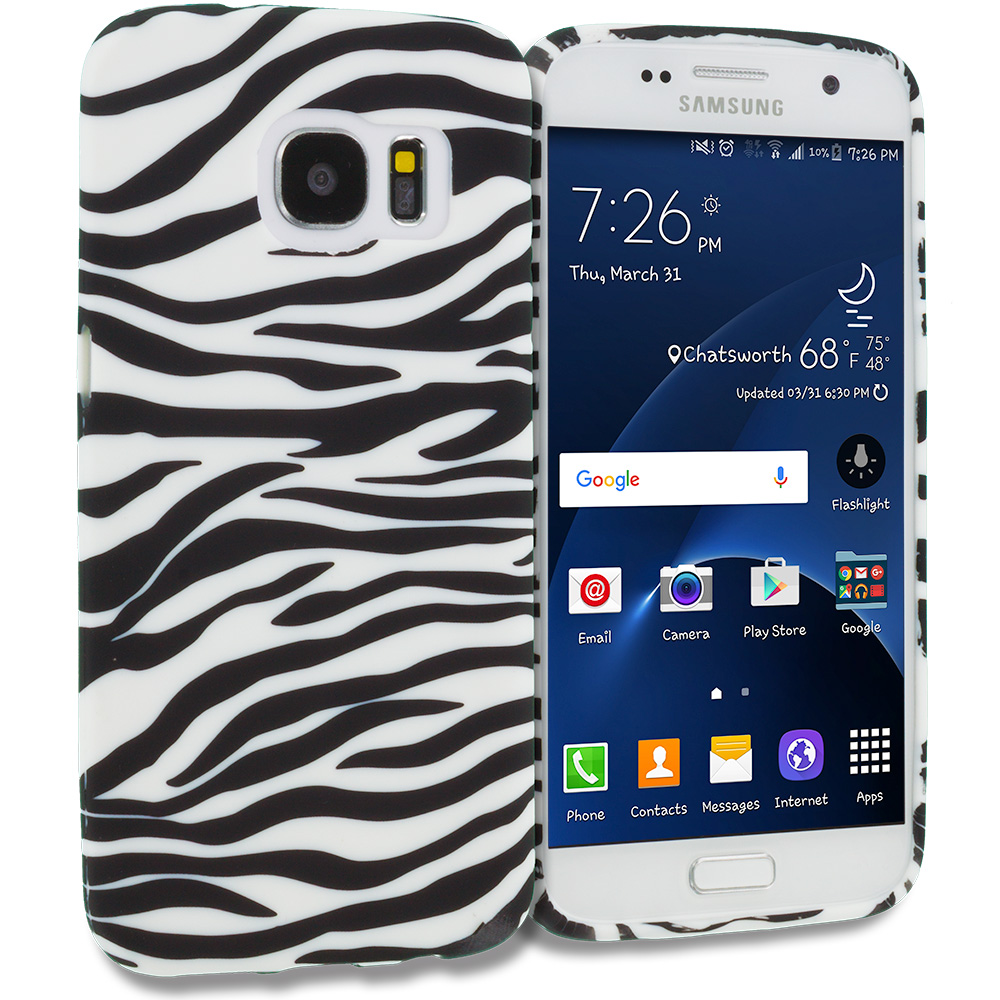 Samsung Galaxy S7 Combo Pack : Black/Baby Blue Zebra TPU Design Soft Rubber Case Cover : Color Black/White Zebra