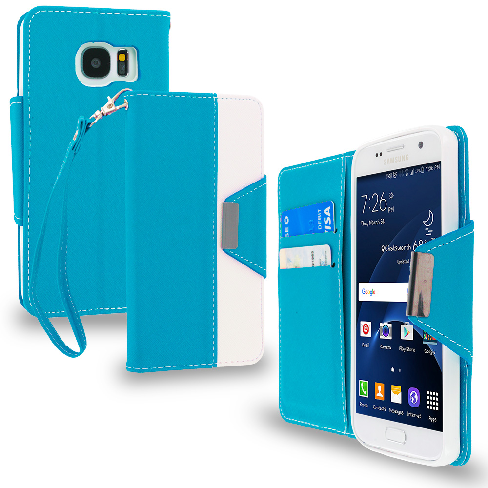 Samsung Galaxy S7 Combo Pack : Baby Blue Wallet Magnetic Metal Flap Case Cover With Card Slots : Color Baby Blue