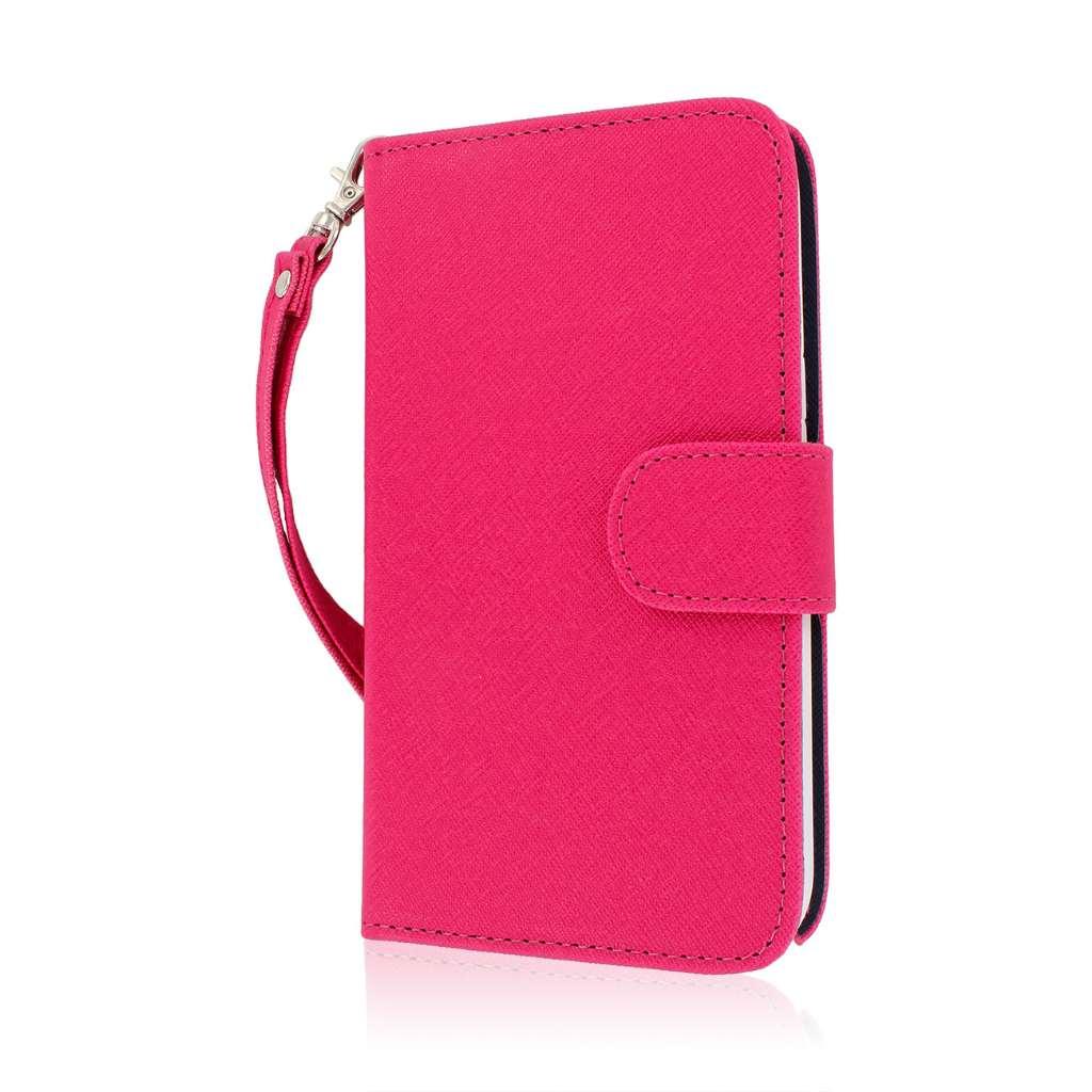 Samsung Galaxy Note 2 - Pink/ Navy Blue MPERO FLEX FLIP Wallet Case Cover
