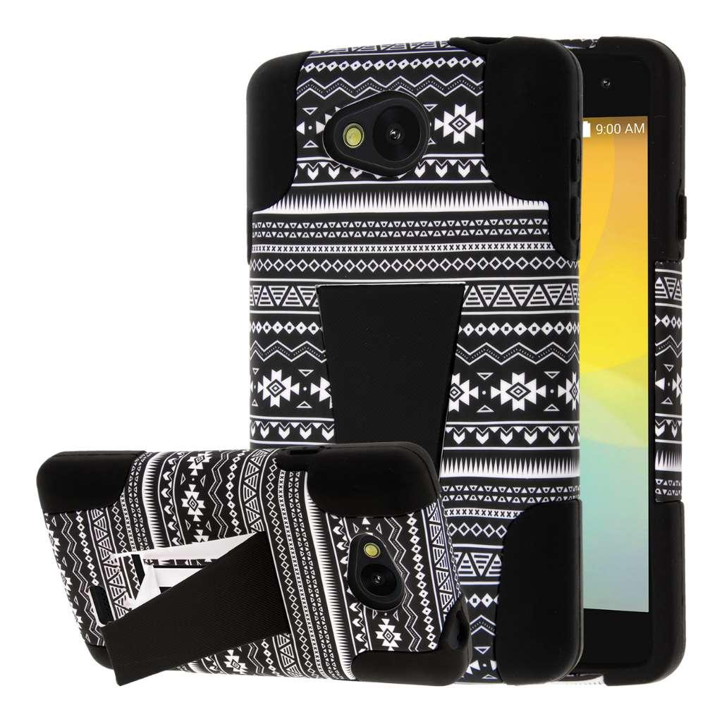 LG F60 - Black Aztec MPERO IMPACT X - Kickstand Case Cover