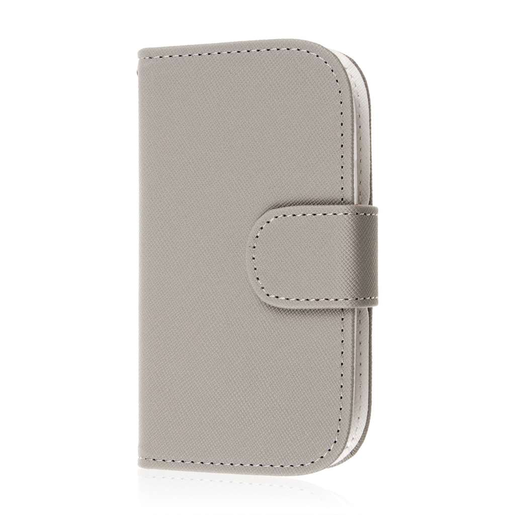 Samsung Galaxy Light - Gray MPERO FLEX FLIP Wallet Case Cover