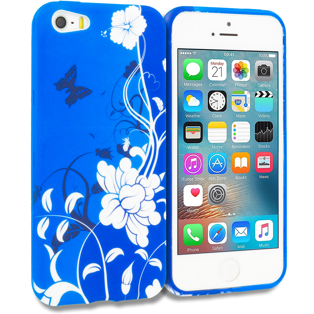 Apple iPhone 5/5S/SE Blue White Flower Butterfly TPU Design Soft Rubber Case Cover