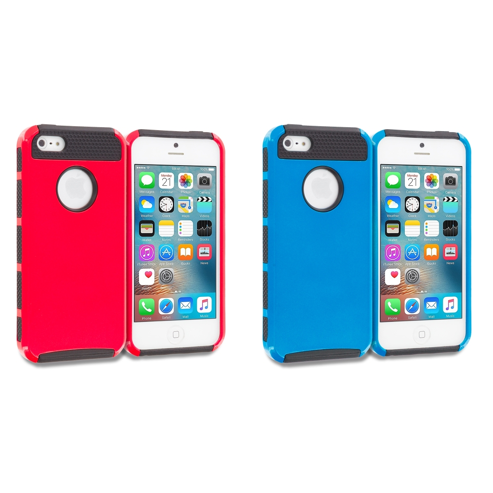 Apple iPhone 5/5S/SE Combo Pack : Red / Black Hybrid Hard TPU Honeycomb Rugged Case Cover