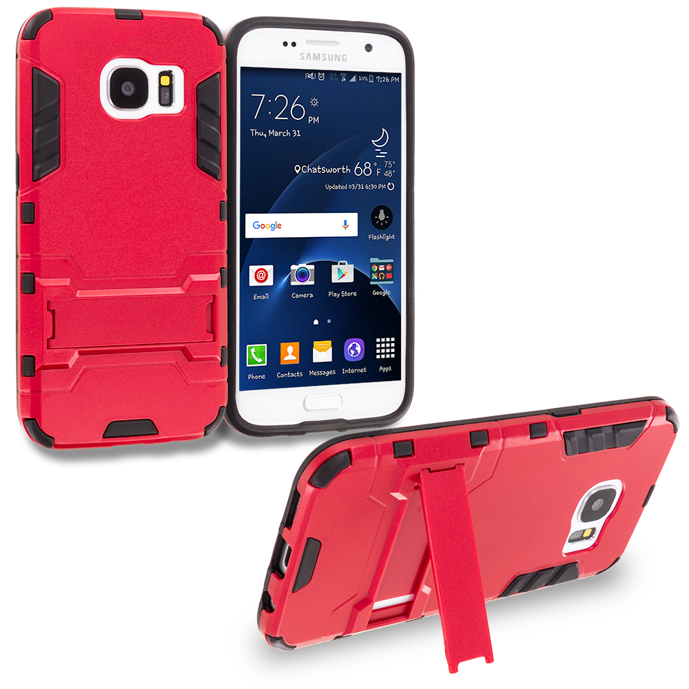 Samsung Galaxy S7 Red Hybrid Transformer Armor Slim Shockproof Case Cover Kickstand