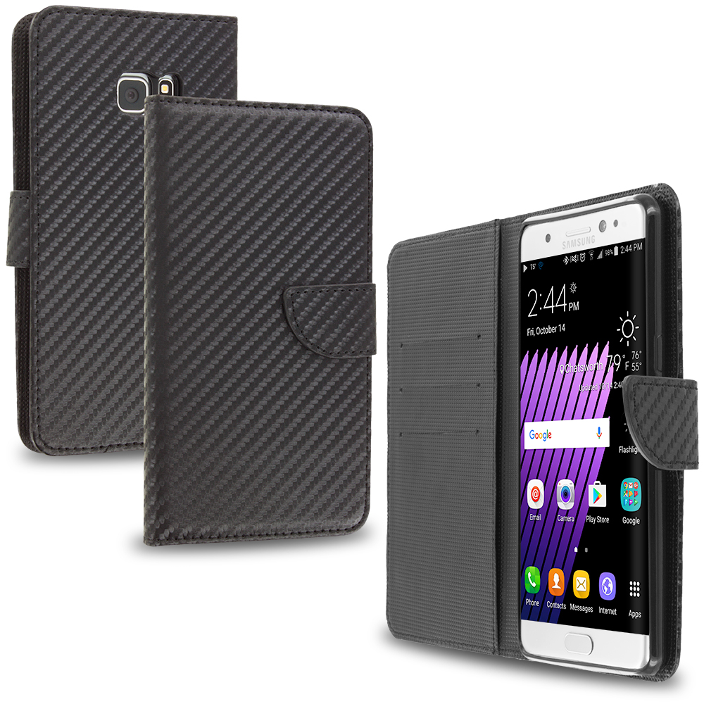 Samsung Galaxy Note 7 Carbon Fiber Leather Wallet Pouch Case Cover with Slots