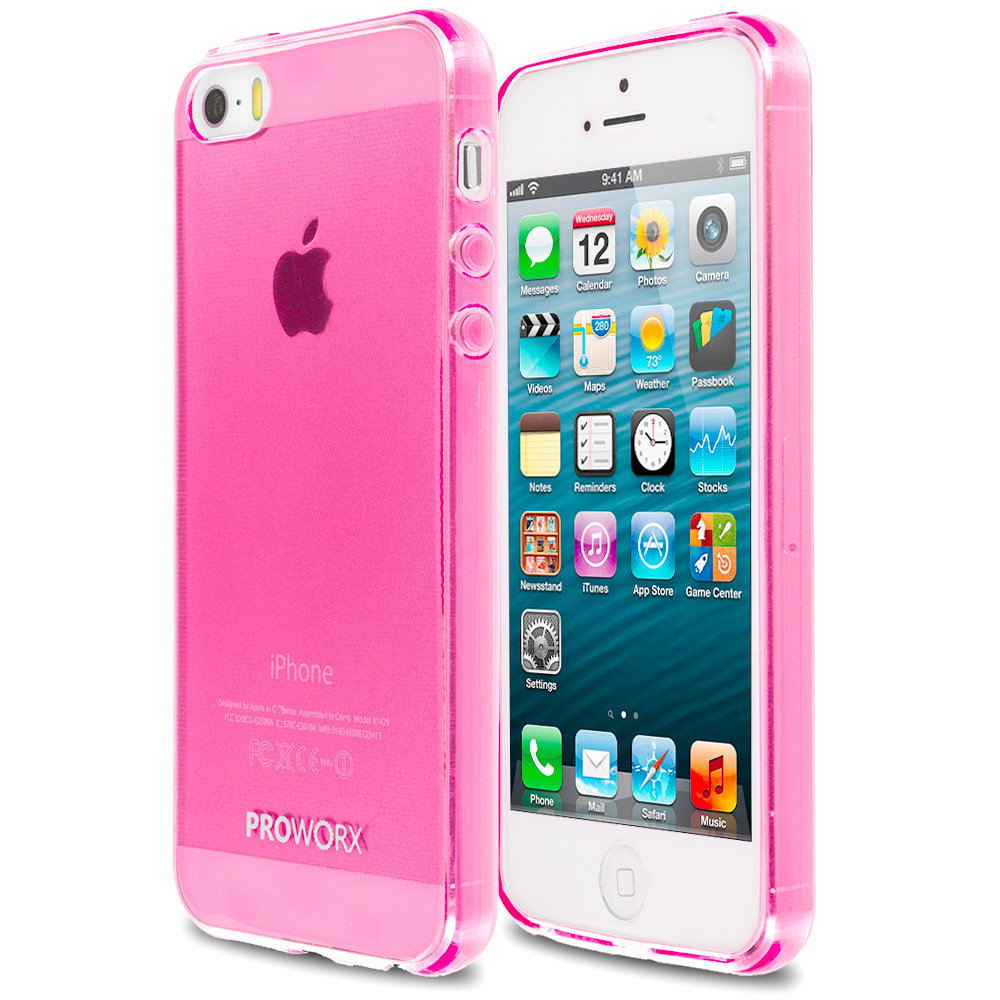 Apple iPhone 5/5S/SE Hot Pink ProWorx Ultra Slim Thin Scratch Resistant TPU Silicone Case Cover