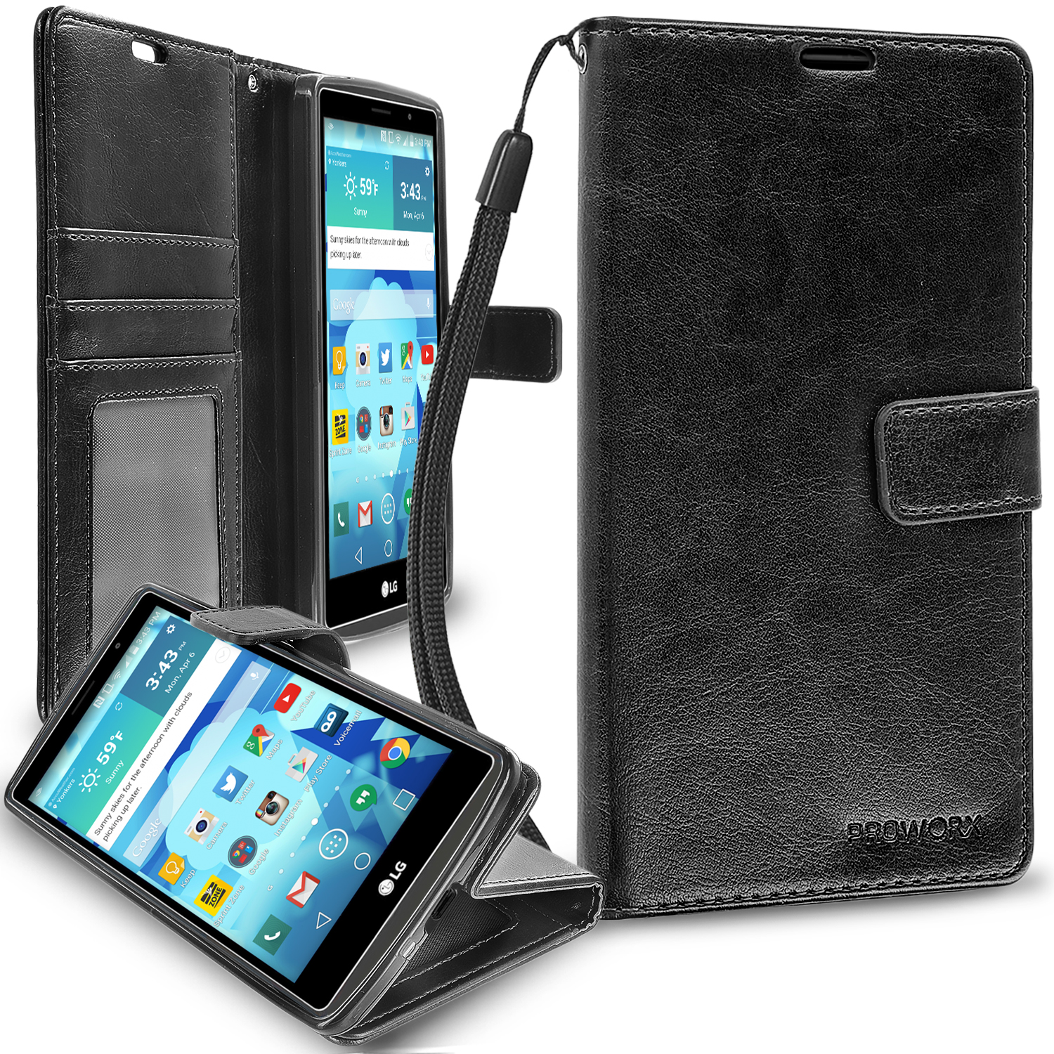 LG G Vista 2 Black ProWorx Wallet Case Luxury PU Leather Case Cover With Card Slots & Stand