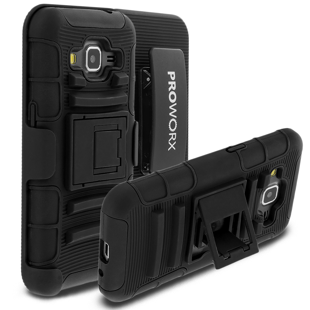 Samsung Galaxy Prevail LTE Core Prime G360P ProWorx Black Heavy Duty Shock Absorption Armor Defender Case Cover With Belt Clip Holster