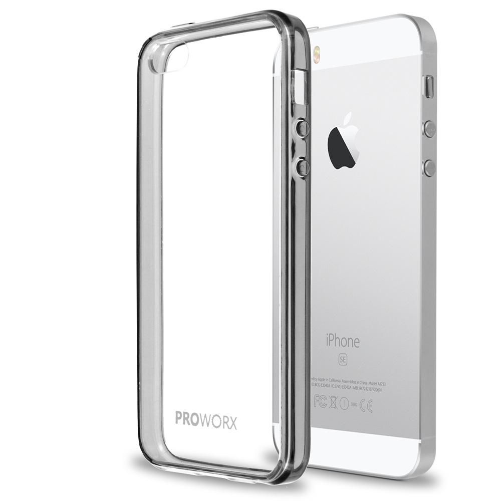 Apple iPhone 5/5S/SE Gray ProWorx Shock Absorption Case Bumper TPU & Anti-Scratch Clear Back Cover