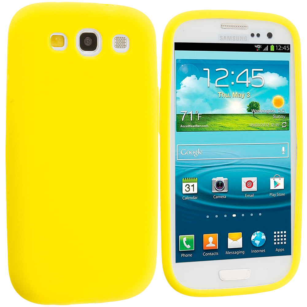 Samsung Galaxy S3 Yellow Silicone Soft Skin Case Cover