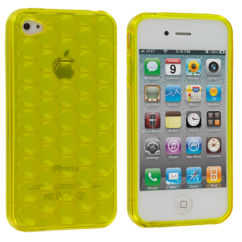 Apple iPhone 4 / 4S 2 in 1 Combo Bundle Pack - Yellow White Hexagon TPU Rubber Skin Case Cover : Color Yellow Hexagon