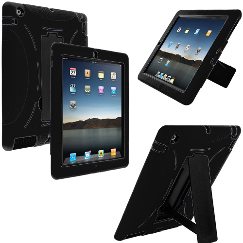 Apple iPad 4th 3rd 2nd Gen Black / Black Hybrid Heavy Duty Hard/Soft Case Cover with Stand