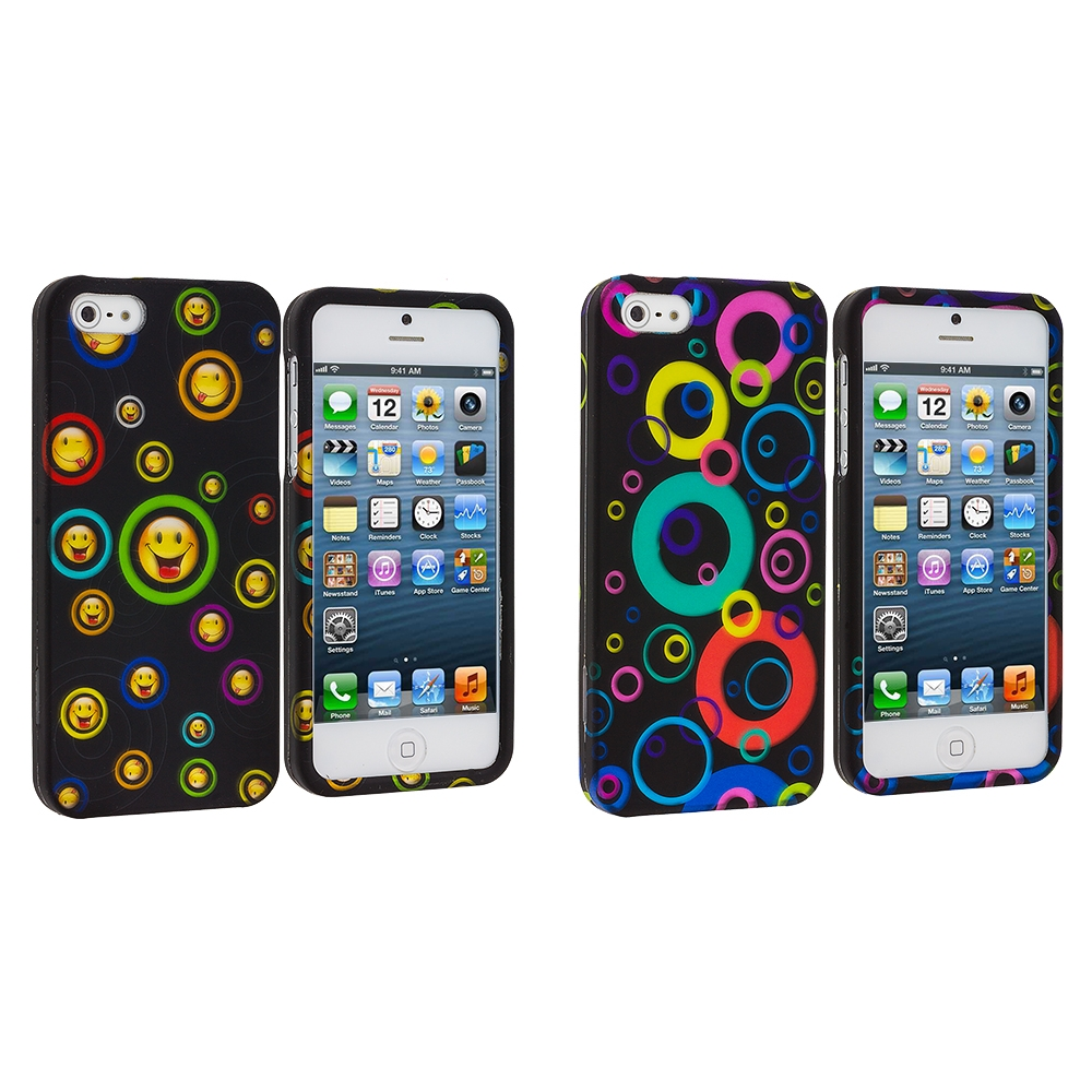Apple iPhone 5/5S/SE Combo Pack : Cartoon Smile Hard Rubberized Design Case Cover