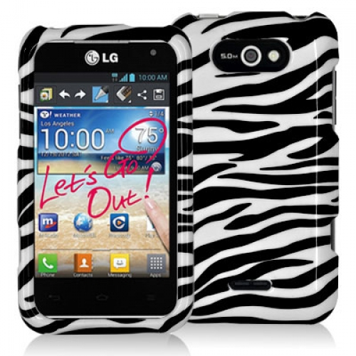 LG Motion MS770 Black / White Zebra Design Crystal Hard Case Cover