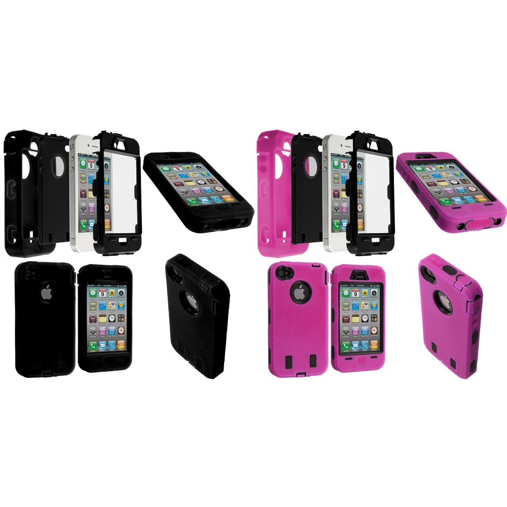 Apple iPhone 4 / 4S 2 in 1 Combo Bundle Pack - Black / Pink + Protector Hybrid Deluxe Hard/Soft Case Cover