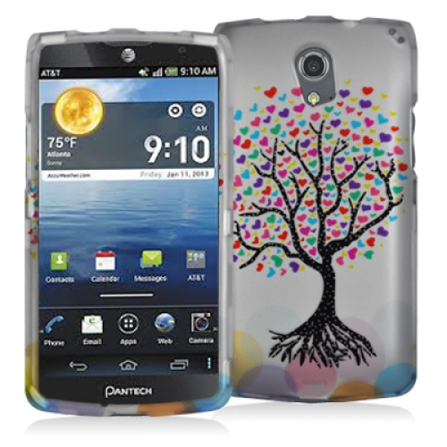 Pantech Discover Love Tree on White Hard Rubberized Design Case Cover