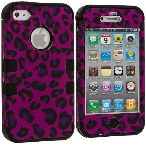 Apple iPhone 4 / 4S Black / Hot Pink Leopard Hybrid Tuff Hard/Soft 3-Piece Case Cover