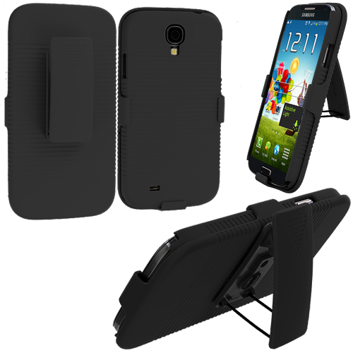 Samsung Galaxy S4 Black Hard Rubberized Belt Clip Holster Case Cover