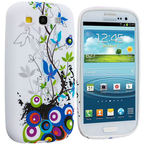 Samsung Galaxy S3 Blue Butterfly Vine TPU Design Soft Case Cover