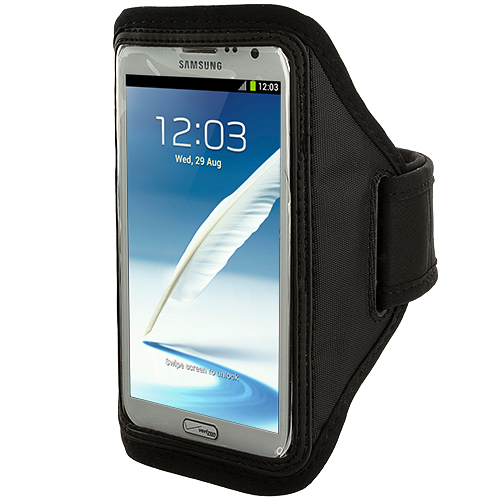 Samsung Galaxy Note 2 II N7100 Black Running Sports Gym Armband