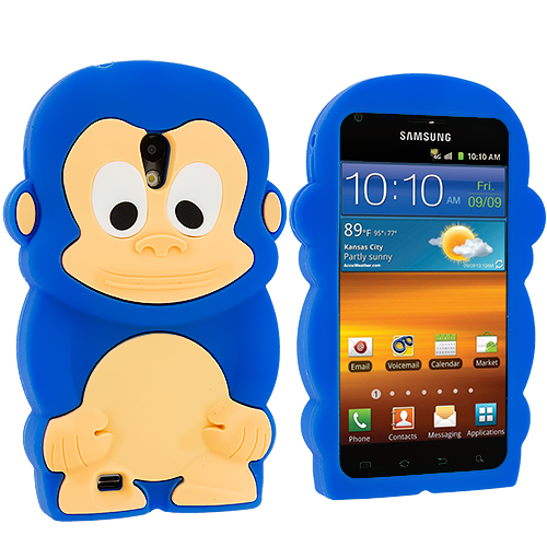 Samsung Epic Touch 4G D710 Sprint Galaxy S2 Blue Monkey Silicone Design Soft Skin Case Cover