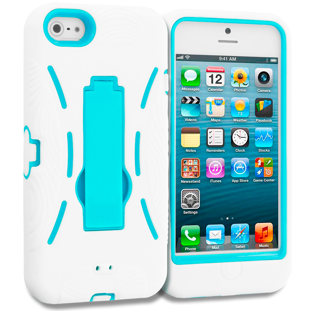 Apple iPhone 5/5S/SE Combo Pack : White / Baby Blue Hybrid Heavy Duty Hard/Soft Case Cover with Stand : Color White / Baby Blue