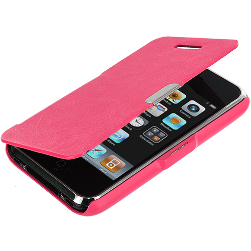 Apple iPhone 3G / 3GS Hot Pink Texture Magnetic Wallet Case Cover Pouch