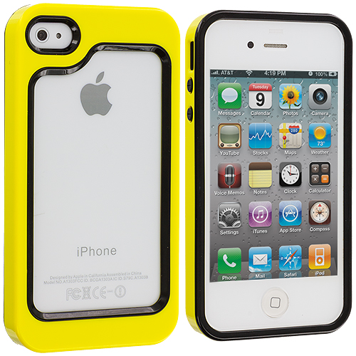 Apple iPhone 4 / 4S Black / Yellow Hybrid TPU Bumper Case Cover