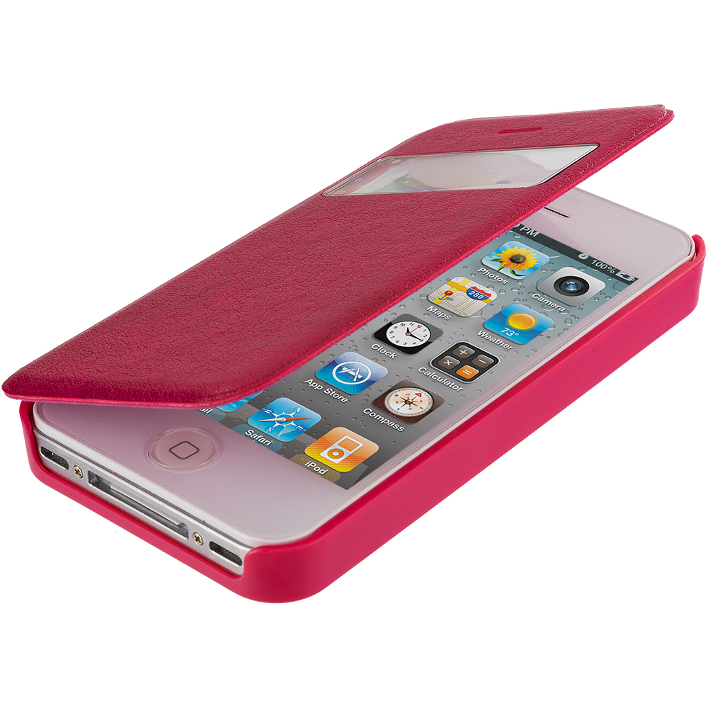 Apple iPhone 4 / 4S Hot Pink (Open) Magnetic Wallet Case Cover Pouch
