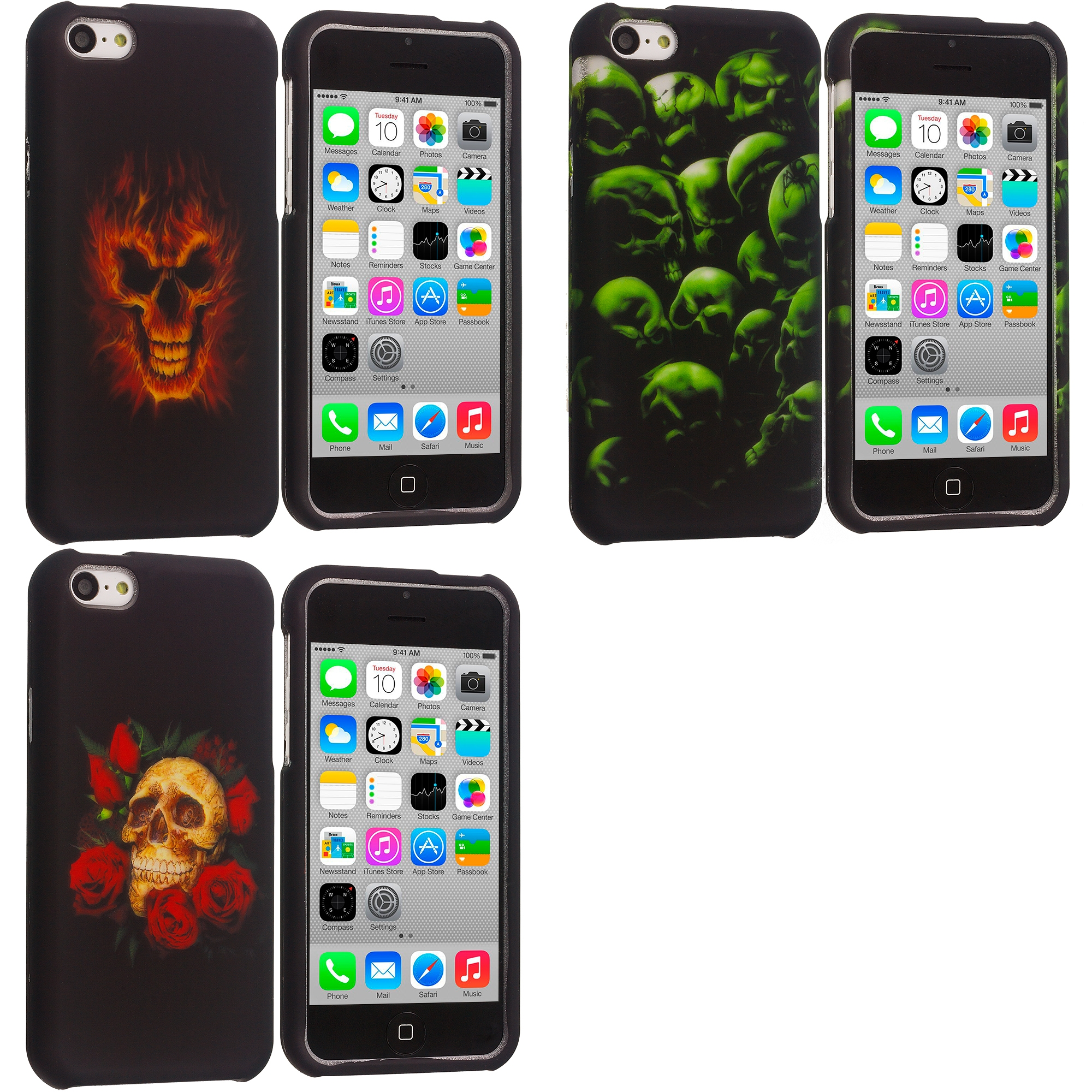 Apple iPhone 5C 3 in 1 Combo Bundle Pack - Fire Skull Hard Rubberized Design Case Cover