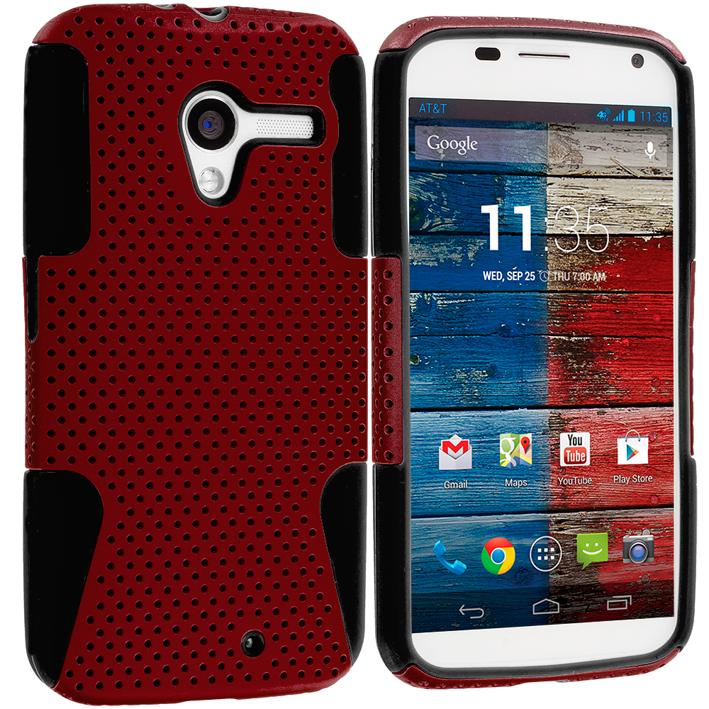 Motorola Moto X Black / Red Hybrid Mesh Hard/Soft Case Cover
