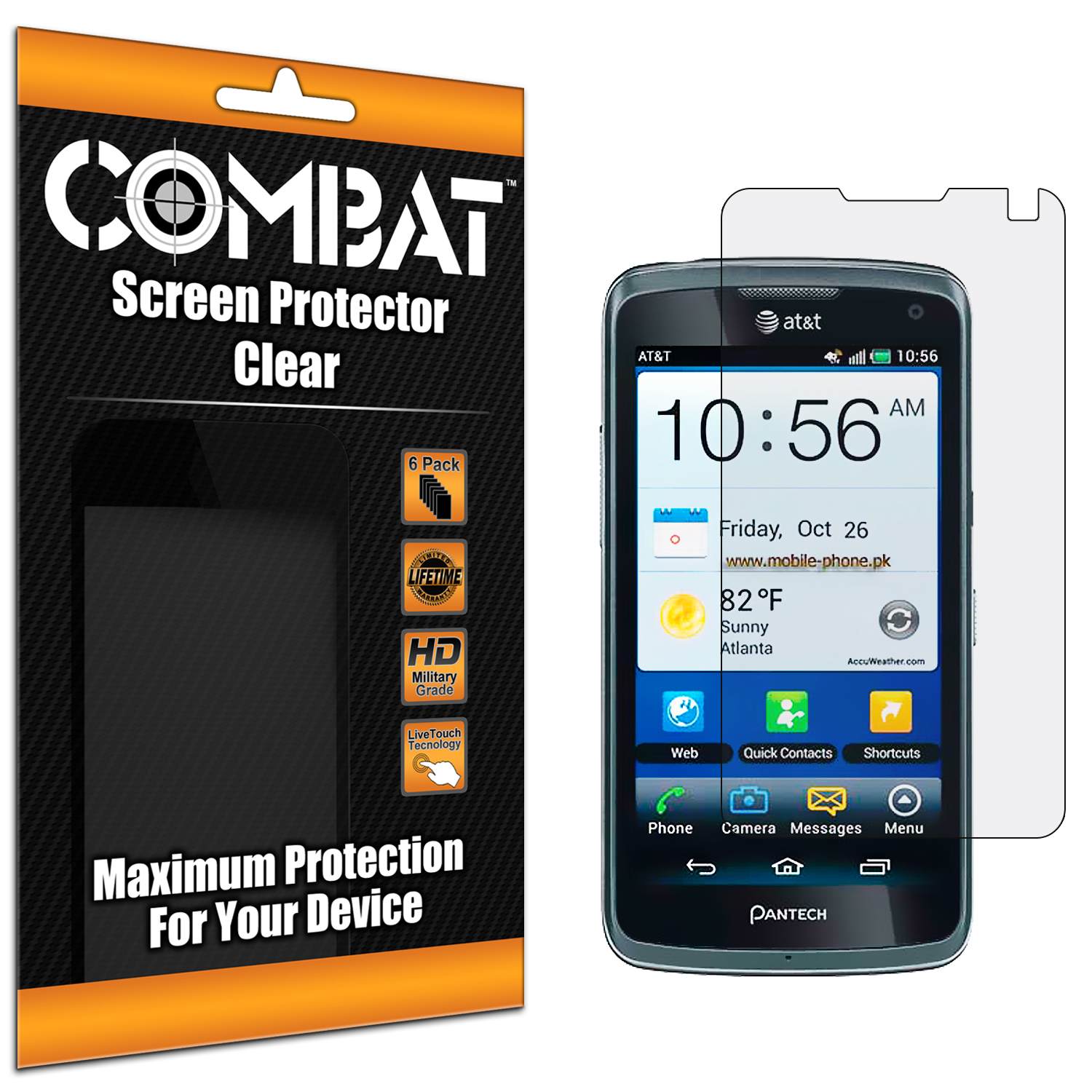 Pantech Flex P8010 P9090 Combat 6 Pack HD Clear Screen Protector