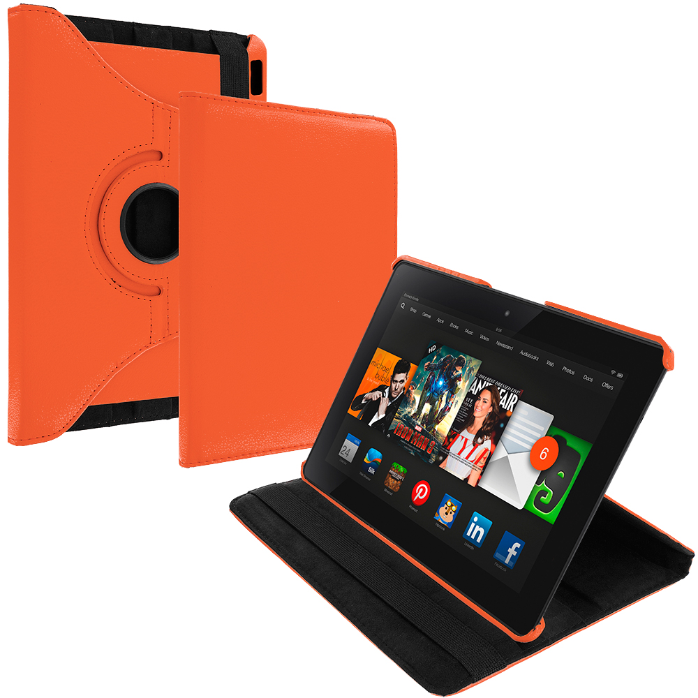 Amazon Kindle Fire HDX 8.9 Orange 360 Rotating Leather Pouch Case Cover Stand