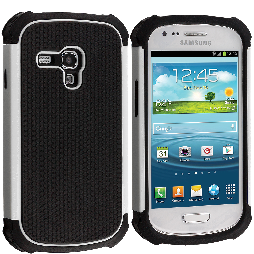 Samsung Galaxy S3 Mini Black / White Hybrid Rugged Hard/Soft Case Cover