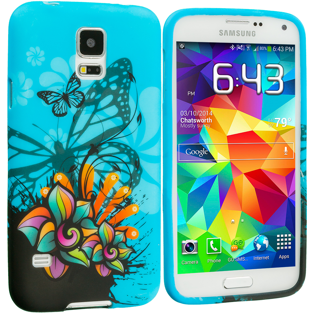 Samsung Galaxy S5 Blue Butterfly Flower TPU Design Soft Case Cover