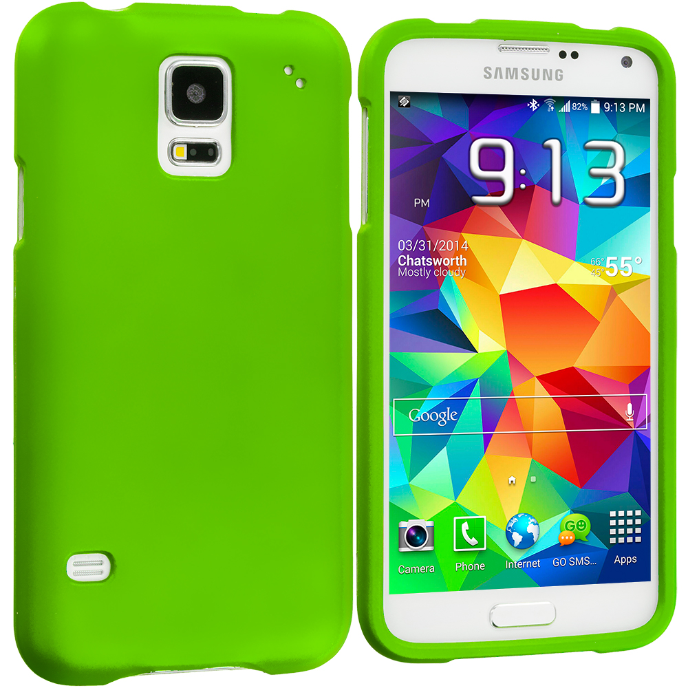 Samsung Galaxy S5 Neon Green Hard Rubberized Case Cover