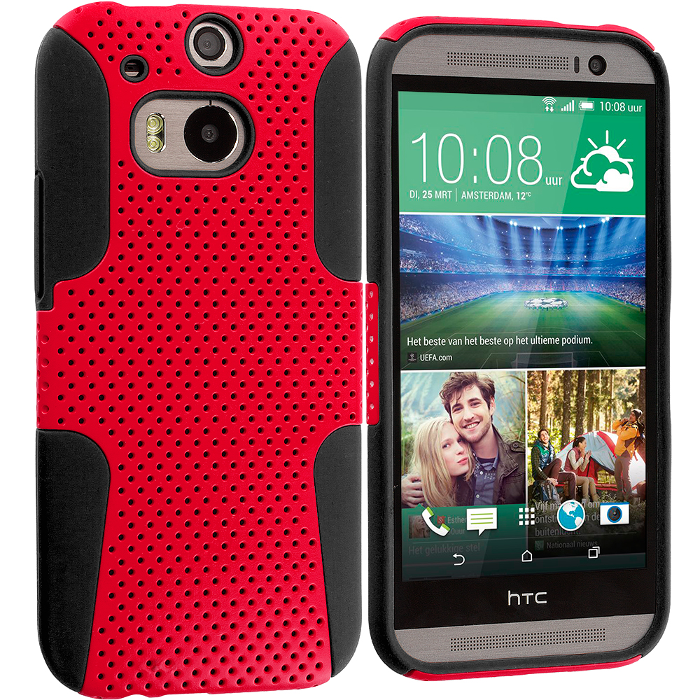 HTC One M8 Black / Red Hybrid Mesh Hard/Soft Case Cover