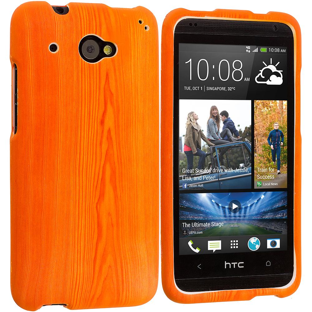 HTC Desire 601 Wood Grain Hard Rubberized Design Case Cover
