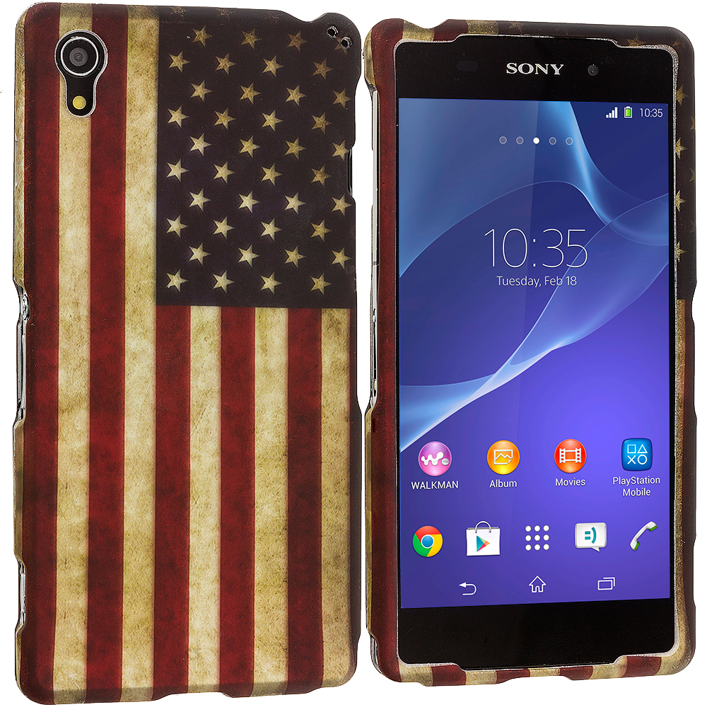 Sony Xperia Z2 USA Flag 2D Hard Rubberized Design Case Cover