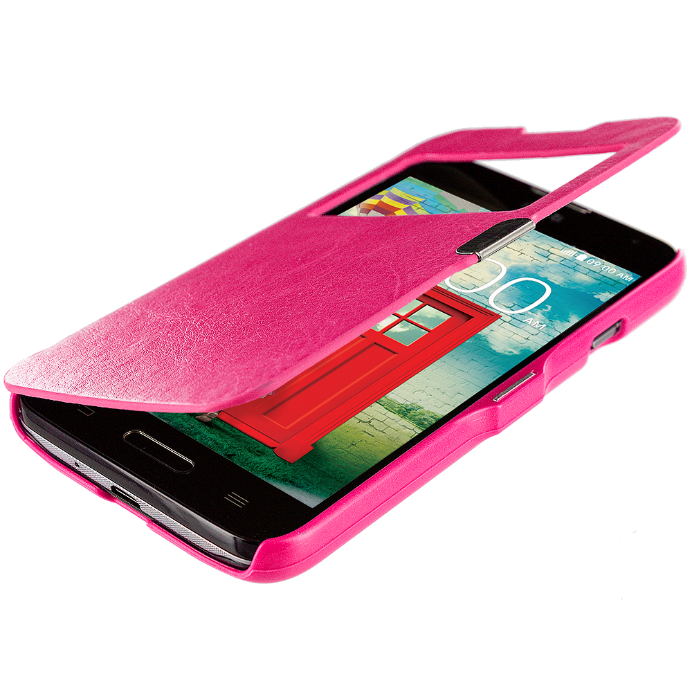 LG Optimus L70 Exceed 2 Realm LS620 Hot Pink (Open) Magnetic Wallet Case Cover Pouch