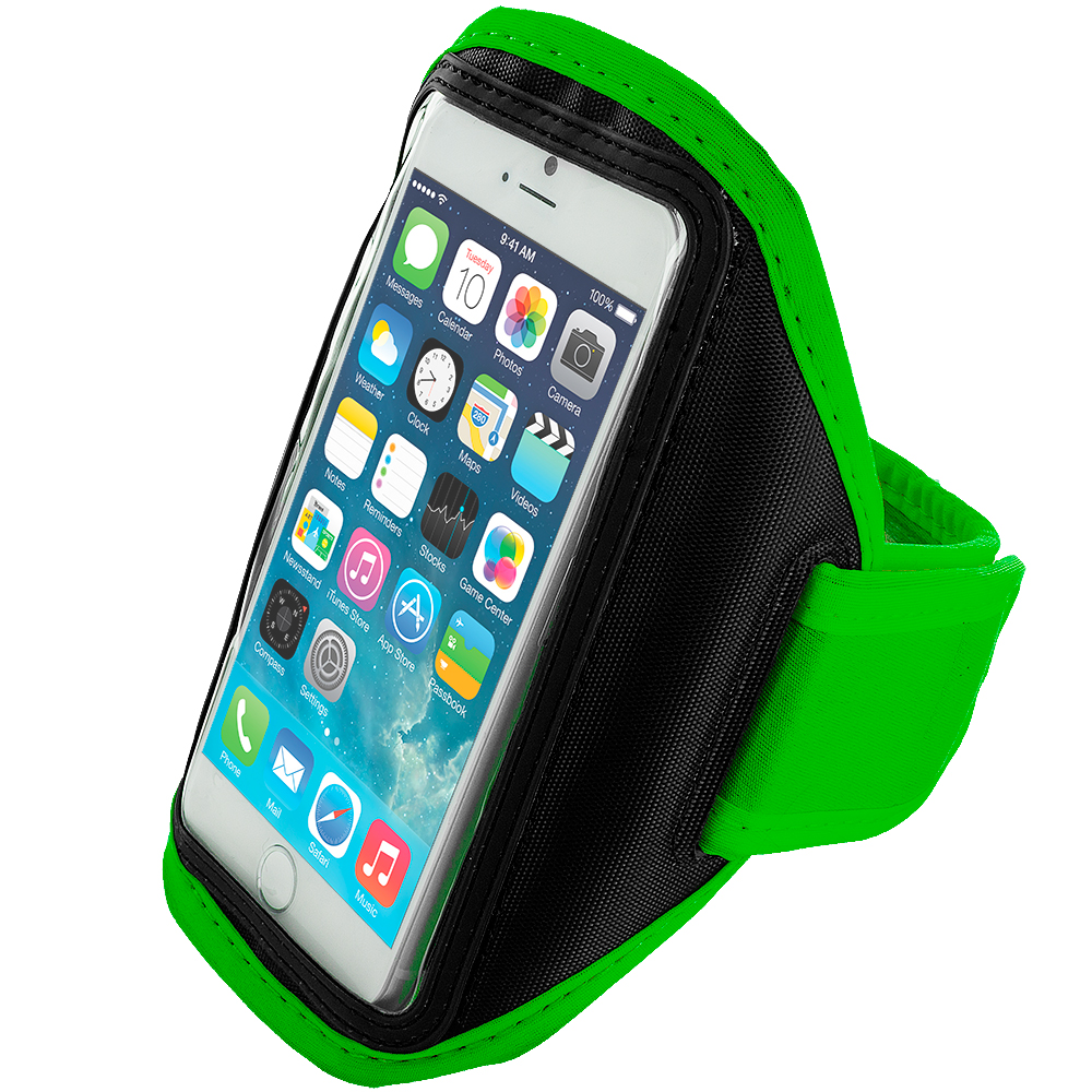 Apple iPhone 6 6S (4.7) 4 in 1 Combo Bundle Pack - Running Sports Gym Armband : Color Neon Green