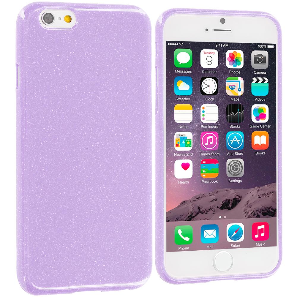 Apple iPhone 6 6S (4.7) Purple Glitter TPU Rubber Skin Case Cover