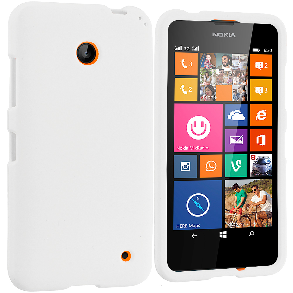 Nokia Lumia 630 635 White Hard Rubberized Case Cover