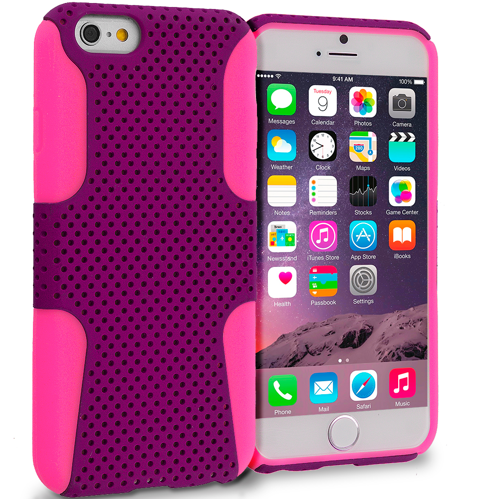 Apple iPhone 6 6S (4.7) 5 in 1 Combo Bundle Pack - Hybrid Mesh Hard/Soft Case Cover : Color Hot Pink / Purple