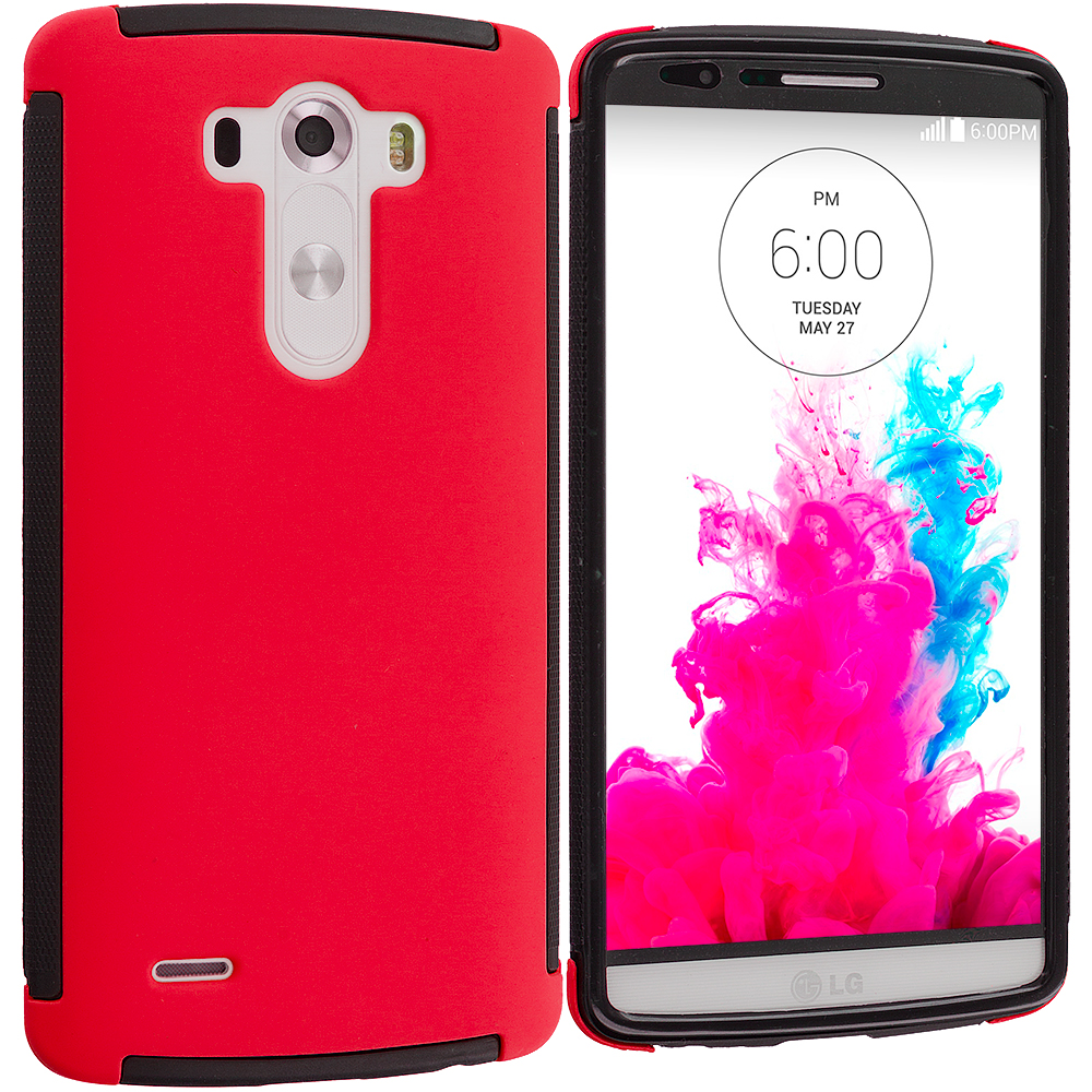 LG G3 Black / Red Hybrid Hard TPU Shockproof Case Cover With Built in Screen Protector